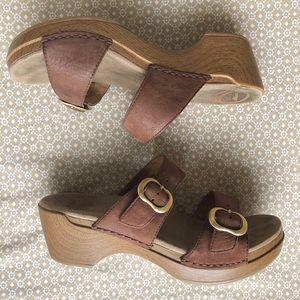 DANSKO Sophie brown leather wedge sandals EU38